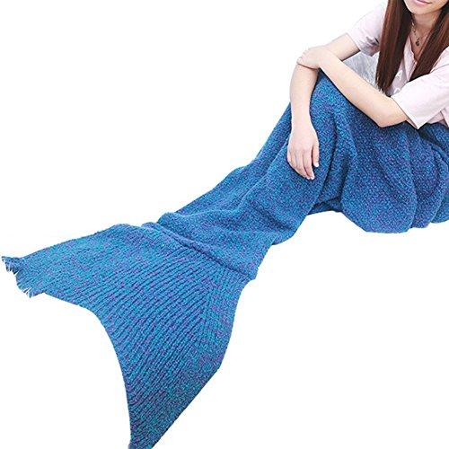 Cloud-Castle handgefertigt Meerjungfrau Schwanz Decke 180x180cm für Erwachsene und Teenager blau