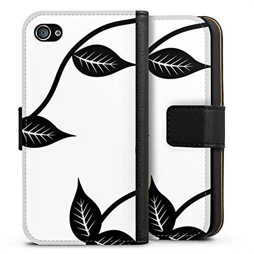 Apple iPhone X Silikon Hülle Case Schutzhülle Blätter Floral Muster Sideflip Tasche schwarz