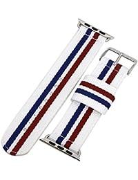 42mm azul de alta calidad de la NATO bandas blancas / rojas / de los hombres de nylon estilo de lona de perlón correas de reloj para Apple Watch