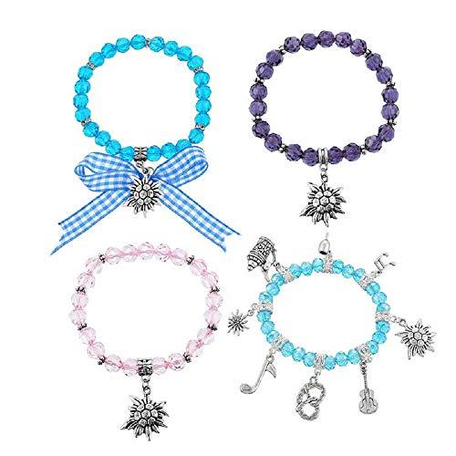 MJARTORIA Damen Mädchen Oktoberfest Geschenkset Blau Rosa Lila Perlen Schleife Armkette mit...