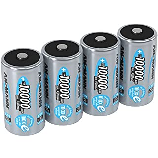 ANSMANN 10000 mAh D Size Rechargeable Battery (2 Packs of 2)