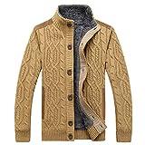 YKENSOT Männer warmen Dicken samt Pullover Single-Breasted Casual's Strickjacke Männer Pullover Pullover GELB XXL