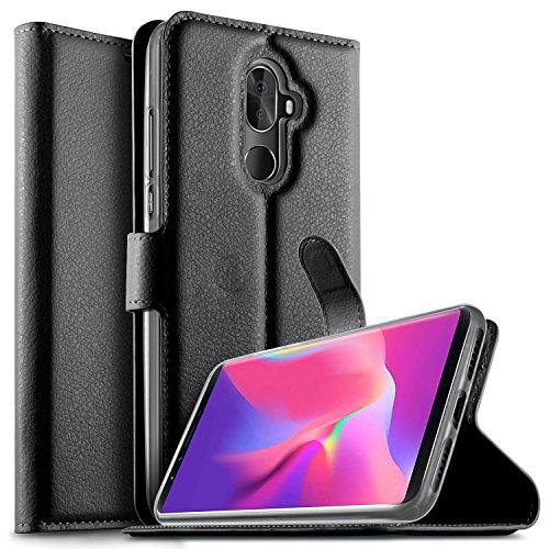 KuGi Cubot X18 Plus Hülle, Cubot X18 Plus Wallet Case, Brieftasche Case Hülle PU Kunstleder Flip Case mit Standfunktion Kartenfächer und Bargeld für Cubot X18 Plus Smartphone.Schwarz