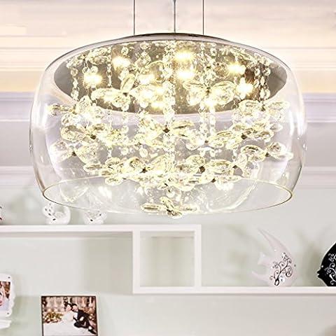 Moderner LED-Kristallanhänger-Kronleuchter-Glaskugelschatten Runder Edelstahl-Chassis Speisender Kronleuchter Durchmesser 40 / 50CM LED-Flecken-Lichtquelle (tragen Sie LED-Flecken-Lichtquelle) ( Color : D-40 )