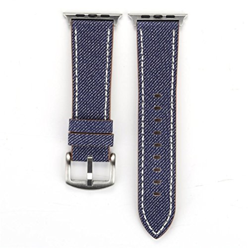 Watch Strap Replacement Cowboy Pattern Leather Band For Apple Watch 38mm (42mm, Dunkelblau)