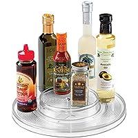 mDesign Lazy Susan piatto rotante per spezie o condimenti per cucina dispensa, armadietto, ripiani - 2 livelli, Trasparente