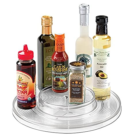 mDesign Lazy Susan Turntable Spices or Condiments Organizer Bin for Kitchen Pantry, Cabinet, Countertops - 2 Tiers, Clear