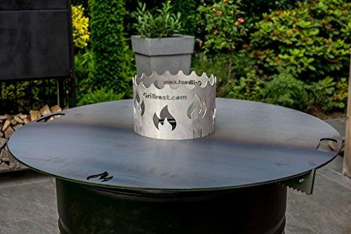 Grillrost.com Das Original Feuerplatte 80 & 100cm und Zubehör für Feuertonnen und Kugelgrills