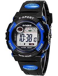 755ca471a4a7 Reloj de pulsera de multifuncion - SYNOKE Reloj de nino de multifuncion  impermeable Reloj del deporte