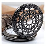 Lmp3Creation Black Classic Vintage Retro Antique Spider Web Net Small Love Heart Shape Round Hole Belt Pocket Watch With Chain For Unisex (Pow-0072)