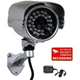 VideoSecu CCTV Home Surveillance Outdoor IR Bullet Security Camera Color CCD Day Night 24 Infrared LEDs with Bonus Power Supply IR24W C2M