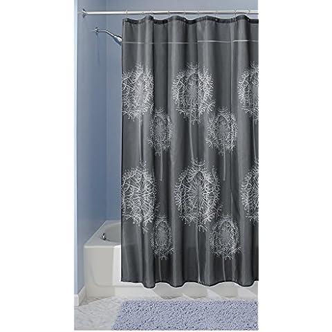 mDesign - Dandelion - Cortina de tela para cubículo de ducha, 180 x 200 cm - Carbón