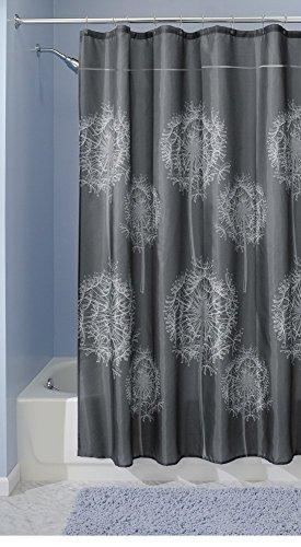 Rideau de douche en tissu, mDesign Dandelion, 180 x 200 cm - Charbo