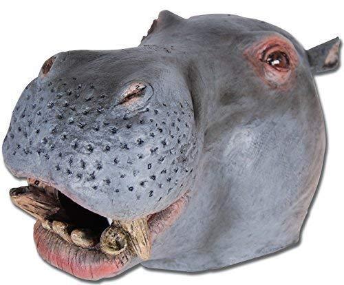 Damen Herren Rubber Das Gesicht Bedeckend Maske Animal Halloween Kostüm Kleid Outfit Zubehör - Hippo ()