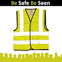 POWCOG® High Visibility Childrens Safety Waistcoat Vest Jackets (FITS 4-6 YEAR OLDS) - Perfect for Travelling in Europe, Car Breakdowns, School Trips, Cycling