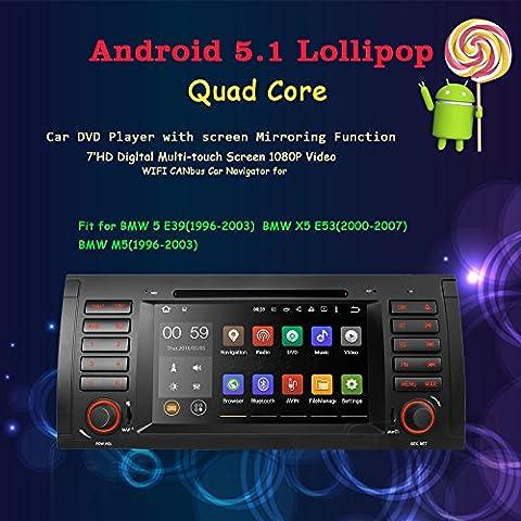 Android 5.1Lollipop Autoradio per BMW E39E53M5X5auto radio audio 7