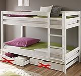 Weiss Kinderbett Etagenbett mit Rolllattenroste Massiv Hochbett Spielbett Stockbett 90x200 cm...