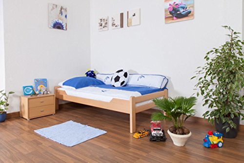 "Kinderbett/Jugendbett""Easy Premium Line"" K1/1n, Buche Vollholz massiv Natur - Maße: 90 x 190 cm"