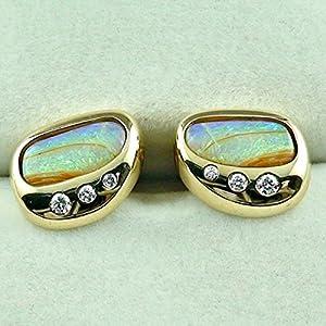 585er Gelbgold exklusive Manschettenknöpfe mit Top GEM Crystal Opalen und Top Diamanten