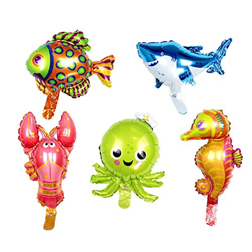 ED-Lumos 5pcs Folienballons für Kinder Baby Ballon Ozean Meerestiere Party Geburtstagsgeschenk Dekoration Spielzeug