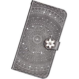 Urhause Kompatibel mit Samsung Galaxy S8,Mandala Prägung Glitzer Ledertasche PU Flipcase Handytasche Ständer Mit Magnetverschluss Schlüsselband Schutzhülle,grau