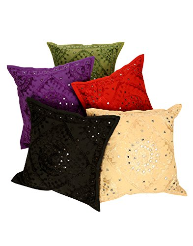 Indian Traditional Deocrative Cushion Cover Cotton 16x 16 Inch Pack of 5 Multicolored Floral Premium Quality Pillow case 40x 40 cm Mirror Work By Rajrang