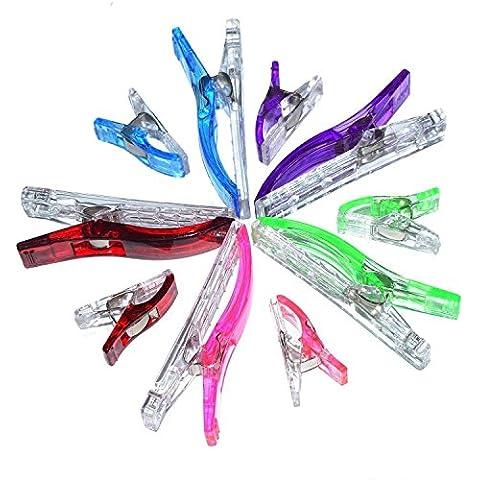 Handi- Stitch Clips para telas- ¡60 Clips Vibrantes Colores Variados - 50 piezas + 10 piezas jumbo! -No Se Necesitan alfileres para Coser, Bordado a Mano, Ganchillo, Tejer, Manualidades – Garantía 100