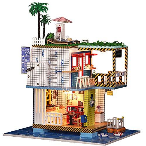 Puppenhaus DIY Miniatur Zimmer Set-Holz Handwerk Baukasten-Holzmodellbau Spielzeug-Mini Puppenhaus-kreative Geburtstagsgeschenke für Jungen Mädchen und Freunde - Spielzeug Gebäude Junge