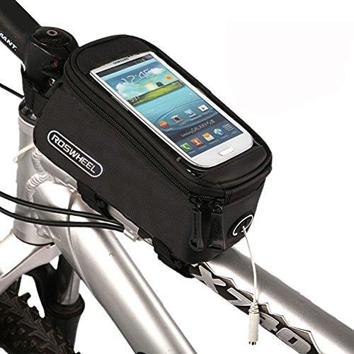 Nestling® ROSWHEEL bicicletta telaio tubo singolo, Borsa impermeabile bicicletta borsa tubo anteriore Pannier Testa Tubo Touchscreen Custodia per borsa con Audio estensione linea per 5.5cellulare, IPod, MP3, GPS Holder