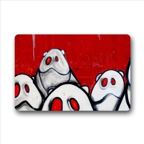 Fußmatte mit lustigen Bären, Graffiti, für Innen- und Außenbereich, 58,4 x 39,9 cm