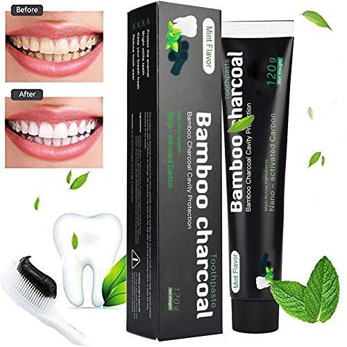 Aktivkohle Zahnpasta-Natürliche Zahnaufhellung und Zahnreinigung -Bambuskohle Schwarze Zahnpasta-Weisse Zähne-Fluoridfreie-Bamboo Aktivkohle Zahncreme Weiß- Whitening Zahnpasta-Für Empfindliche Zähne
