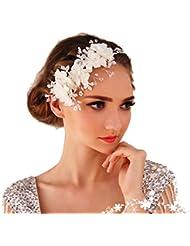 Miya® 1Stück MEGA Glamour Haarband Haarreif mit super schöne sanft Tüll Blumen, Spitzen Lace Blumen mit klare Kristall Perle, Braut Schmuck Hochzeit Jugendweihe Haarschmuck