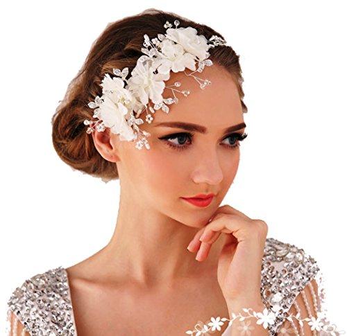 Miya 1Stück MEGA Glamour Haarband Haarreif mit super schöne sanft Tüll Blumen, Spitzen Lace Blumen mit klare Kristall Perle, Braut Schmuck Hochzeit Jugendweihe...
