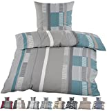 2 tlg. Biber Winter Bettwäsche ,135x200 + 80x80 mit Reißverschuss 100% Baumwolle/ Winterbettwäsche Streifen Grau grün weiß anthrazit