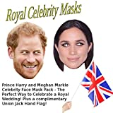 GrassVillage Prince Harry + Meghan Markle Royal Wedding Celebrity Face Mask Pack + COMPLIMENTARY UNION JACK HAND FLAG for Fancy Dress, Wedding day, Birthdays, Hen/Stag Dos