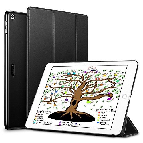 Neues iPad 9.7 Zoll 2018 / 2017 Hülle,ESR Ultra Dünn Cover Auto aufwachen / Schlaf Funktion Smart Case Wickelfalz Ledertasche mit Lichtdurchlässig Rückseite Abdeckung Schutzhülle für iPad 9.7 2018 / 2017 (Schwarz) (Apple-tablet-fällen)