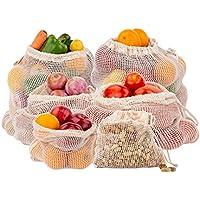 Sacs en filet réutilisables - Sacs à légumes en coton biologique - Sac en tissu à mailles - Sacs de rangement en filet pour les légumes - Sacs à légumes - Sac en pomme de terre en coton - Sac à jouets - Sacs à provisions réutilisables - Lot de 6 (2 de M, L, XL)