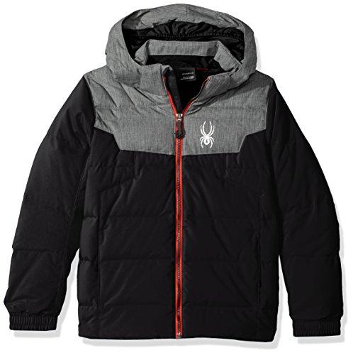 Spyder Mini Clutch Jacke, Jungen, 231109, Black/Polar Herringbone/Red, 37 -