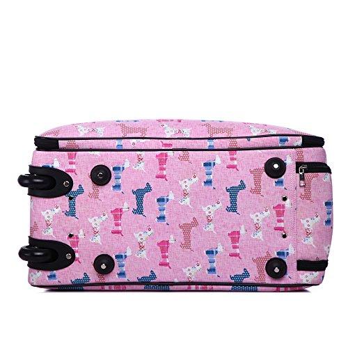 LeahWard® Reisetasche Schmetterling Gepäck Reisetaschen Damen Handtasche Gepäck Wochenende Taschen (L.GREY DOT Reisetasche) PINK DOG