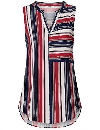 Ärmellose Bluse Für Frauen, Vivilli Damen Freizeit Outfits Chiffon Tops Trendy Vielseitig Weste Tops Business Stylish Federleicht Shirt Blau Rot XXL
