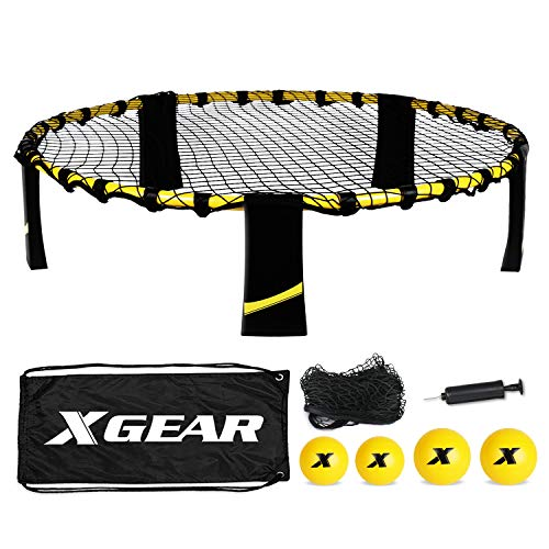 XGEAR Volleyball Spike Battle Ball Set Φ88cm mit 4 Bällen Φ9cm Φ12cm 1 Ballpumpe Schwarz/Gelb