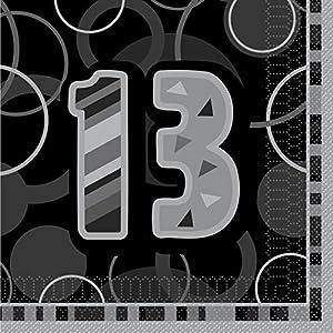 Unique Party Paquete de 16 servilletas de papel de 13 cumpleaños Color negro Edad (28486
