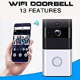 Wifi-Video-Türklingel, drahtlose 720P HD-Überwachungskamera mit Gong, Echtzeit-Gespräch und Video in Echtzeit, IR-Nachtsicht, PIR-Bewegungserkennung und Smart APP-Fernbedienung für IOS und Android
