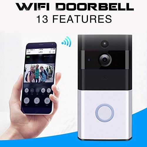 Wifi-Video-Türklingel, drahtlose 720P HD-Überwachungskamera mit Gong, Echtzeit-Gespräch und Video in Echtzeit, IR-Nachtsicht, PIR-Bewegungserkennung und Smart APP-Fernbedienung für IOS und Android (Drahtlose Fernbedienung Türklingel)