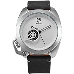 Shark Herren Armbanduhr Quarz Schwarz Lederband Weiß Zifferblatt