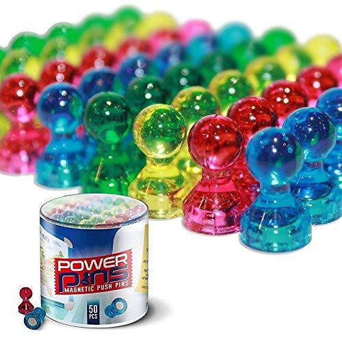 PowerPins - 50 Magneten in verschiedenen Farben für Haushalt und Büro - Stecknadel-Magneten für Whiteboards, Kühlschränke und mehr