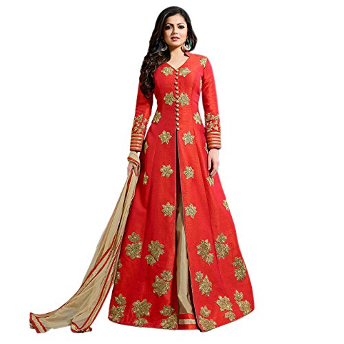 Ethnic Empire Women's Fantom Semi Stitched Anarkali Salwar Suits (Eeas_Ea10767_Red_Free Size)