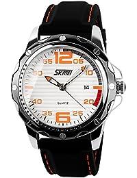 ufengke® streifen wahlsilikonband kalender handgelenk armbanduhren für männer,30 m wasserdicht lässig armbanduhren,weißes zifferblatt orange ziffern