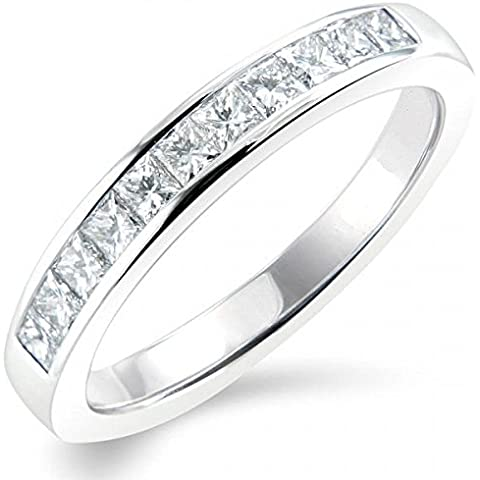 Principessa 1,00 ct Half Eternity con diamanti incastonati a canale, in (Diamante Dei Canali Band Ring)