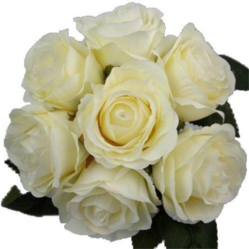 31cm Kunstblumen Elfenbeinfarben/cremefarben Rose Bouquet/Paket mit 7großen Blume Köpfe–Home Hochzeit